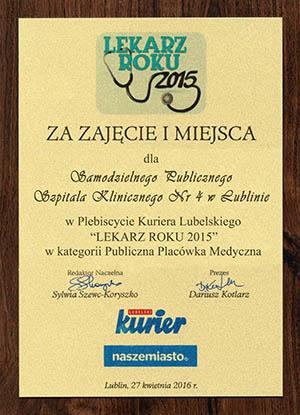 dyplom za zajecie 1 miejsca w Plebiscycie Kuriera Lubelskiego
