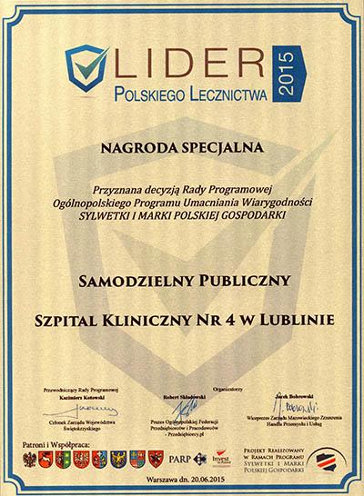 lider2015 nagroda specjalna dla szpitala