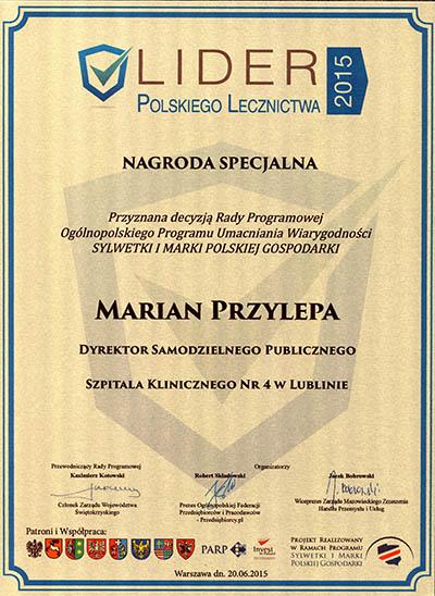 lider2015 nagroda specjalna dla dyrektora szpitala
